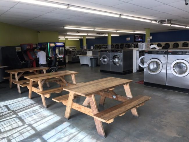 laundromat, bench, seating